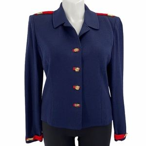 St. John jacket size 14 blue and red knit navy